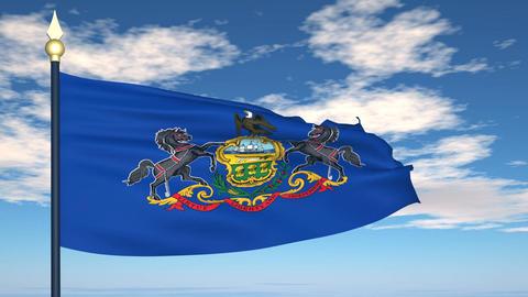 Flag of the state of Pennsylvania USA Animation