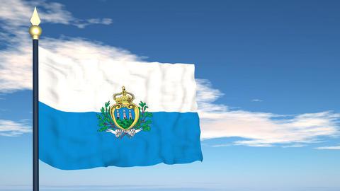 Flag Of San Marino Stock Video Footage