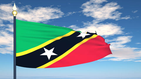 Flag Of Saint Kitts and Nevis Stock Video Footage