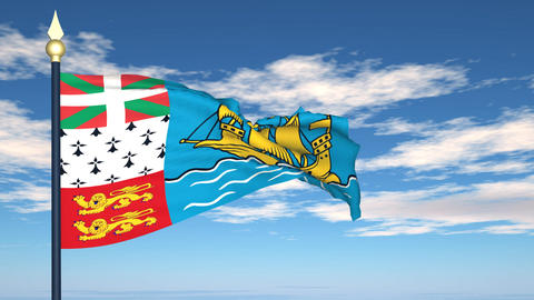 Flag Of Saint-Pierre and Miquelon Stock Video Footage