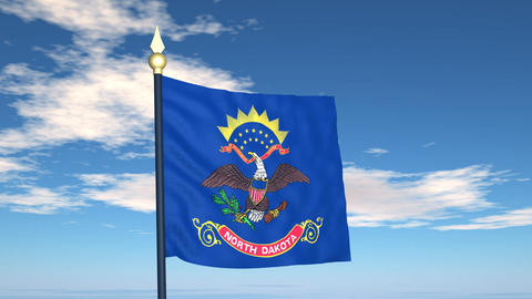 Flag of the state of North Dakota USA Stock Video Footage