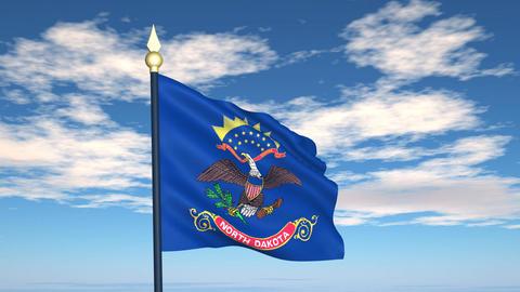 Flag of the state of North Dakota USA Animation