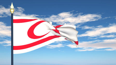 Flag Of Northern Cyprus Stock Video Footage