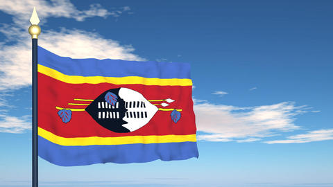 Flag Of Swaziland Stock Video Footage