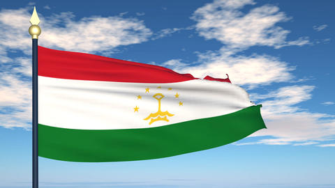 Flag Of Tajikistan Stock Video Footage