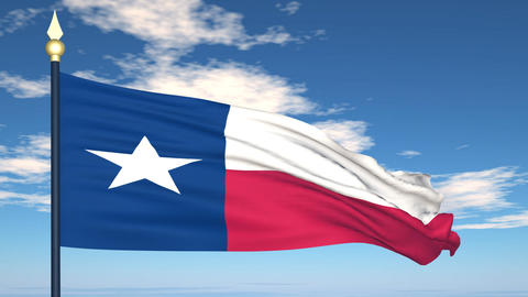 Flag of the state of Texas USA Stock Video Footage