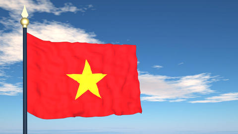 Flag Of Vietnam Stock Video Footage