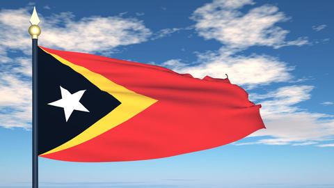 Flag Of East Timor stock footage
