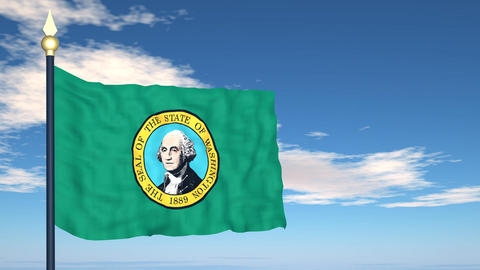 Flag of the state of Washington USA Stock Video Footage