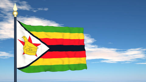 Flag Of Zimbabwe Stock Video Footage
