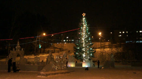 Divnogorsk Christmas Tree 01 stock footage