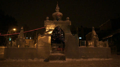 Ice Gate Illuminated 02 Stock Video Footage