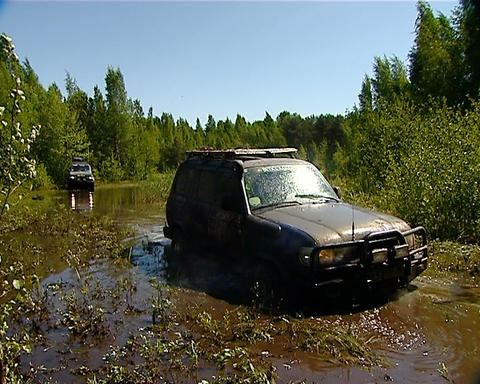 Race in a jeep Stock Video Footage