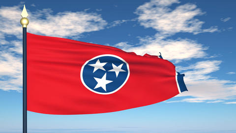 Flag of the state of Tennessee USA Animation