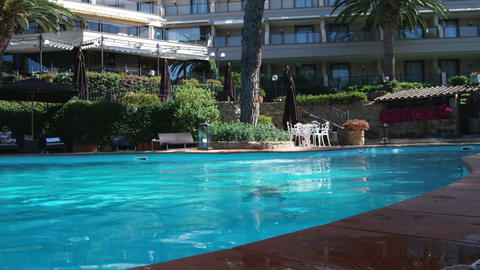 Woman diving in a swimming pool at resort. Surfaces near and smiles Footage