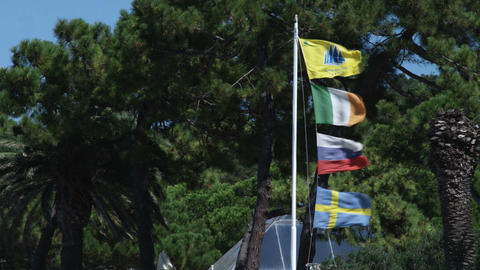 Flags blowing in the wind in Punta Ala Italy Live Action