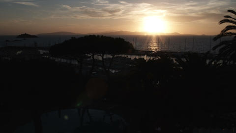 Sunset at the ocean at Punta Ala Italy Footage