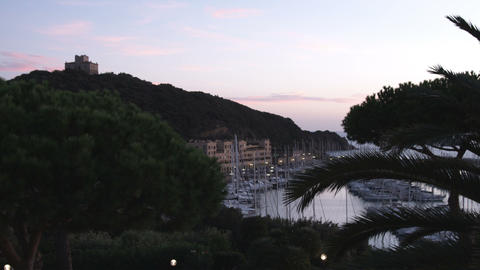 Island and coast just after sunset in Italy Footage