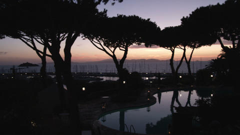 Panning shot of silhouetted trees at sunset in Punta Ala Italy Footage