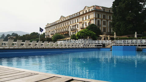 Shot of the Tremezzo Hotel on Lake Como in Italy Live Action
