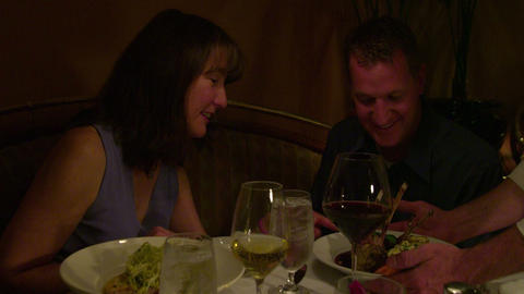 Happy couple enjoying a romantic dinner Footage