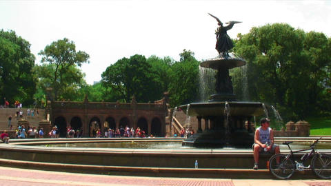 Bethesda Fountain in Central Park NYC Footage