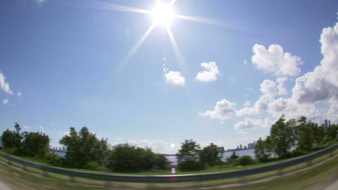 Wide angle lens driving down oceanside freeway in Miami Footage