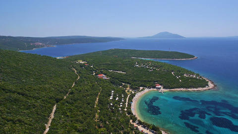 Aerial, Panorama - Adriatic Bay With Clear Blue Water stock footage