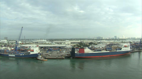 Aerial shot of a shipping yard in Miami Footage