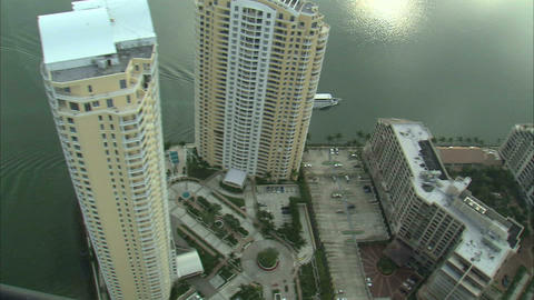Aerial shot of hotels in Miami Live Action