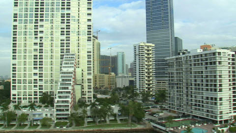 Flying by hotels and apartments in Miami Footage