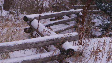 Rural stacked-wood fence in a snow-covered field Footage
