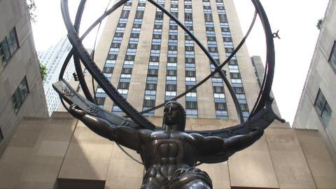 Atlas statue at Rockefeller Center in New York City Live Action