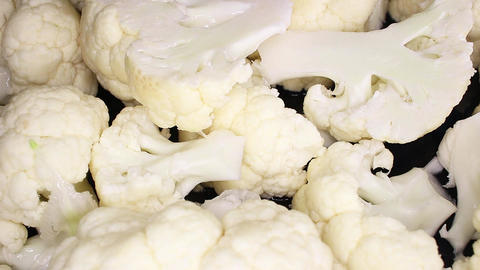 Cauliflower vegetable food closeup texture pattern seamless looping rotating Live Action