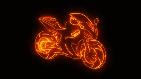 Orange Burning Race Moto Bike Logo Loopable Graphic Element Animation