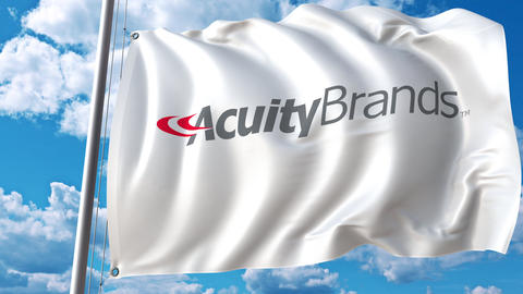 Waving flag with Acuity Brands logo. 4K editorial animation Live Action