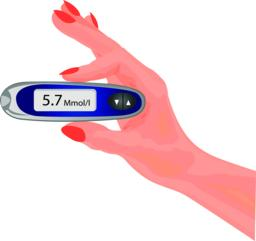 Blood test for glucose in a hand. Checking insulin level ベクター