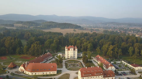 Aerial view of medieval Palace in Western Europe, Wojanow, Poland Footage