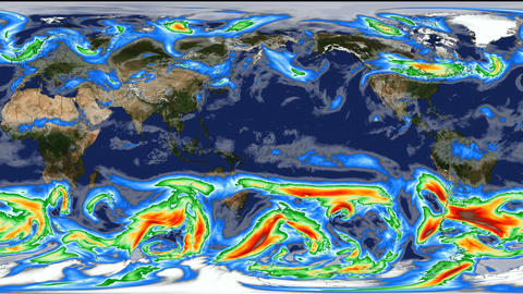 Time lapse animation simulated wind speeds on planet earth with color graphic Animation