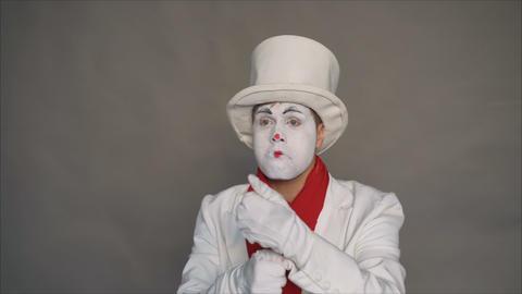 Dangerous mime. Portrait of a joker. Crazy image of a man... Stock Video Footage