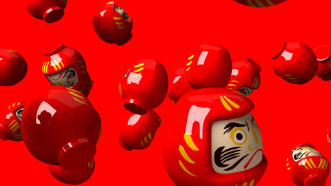 Red daruma dolls on red background Animation