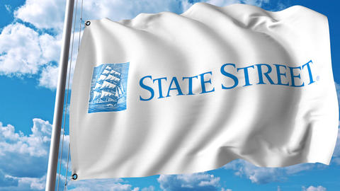 Waving flag with State Street Corporation logo. 4K editorial animation Live Action