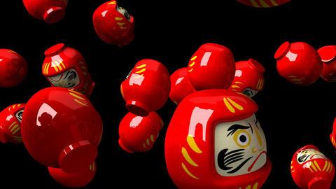 Red daruma dolls on black background CG動画