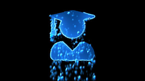 Liquid symbol user graduate appears with water droplets. Then dissolves with Animation