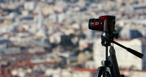 Bridge Digital Camera On Tripod Taking The Urban Landscape Of Nice GIF