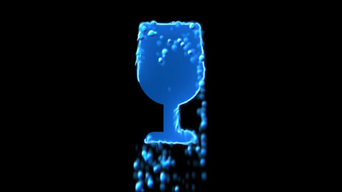 Liquid symbol wine glass appears with water droplets. Then dissolves with drops Animation