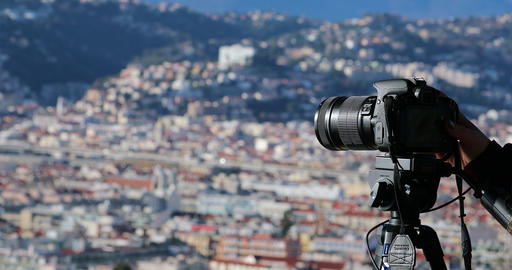 Photographer With DSLR Camera On Tripod Taking The Urban Landscape Of Nice Live Action
