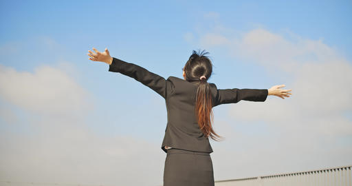 asian business woman feel carefree Footage