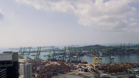 Bird eye panoramic view of busiest Asian cargo port. Commercial port of Live Action
