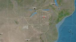 Zoom-in on Zimbabwe outlined. Satellite Animation